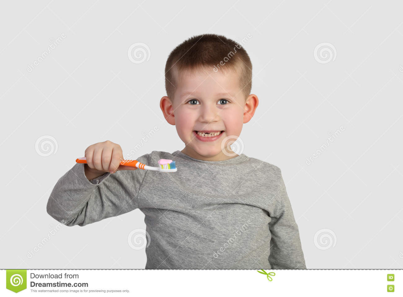 Little boy going to brush teeth