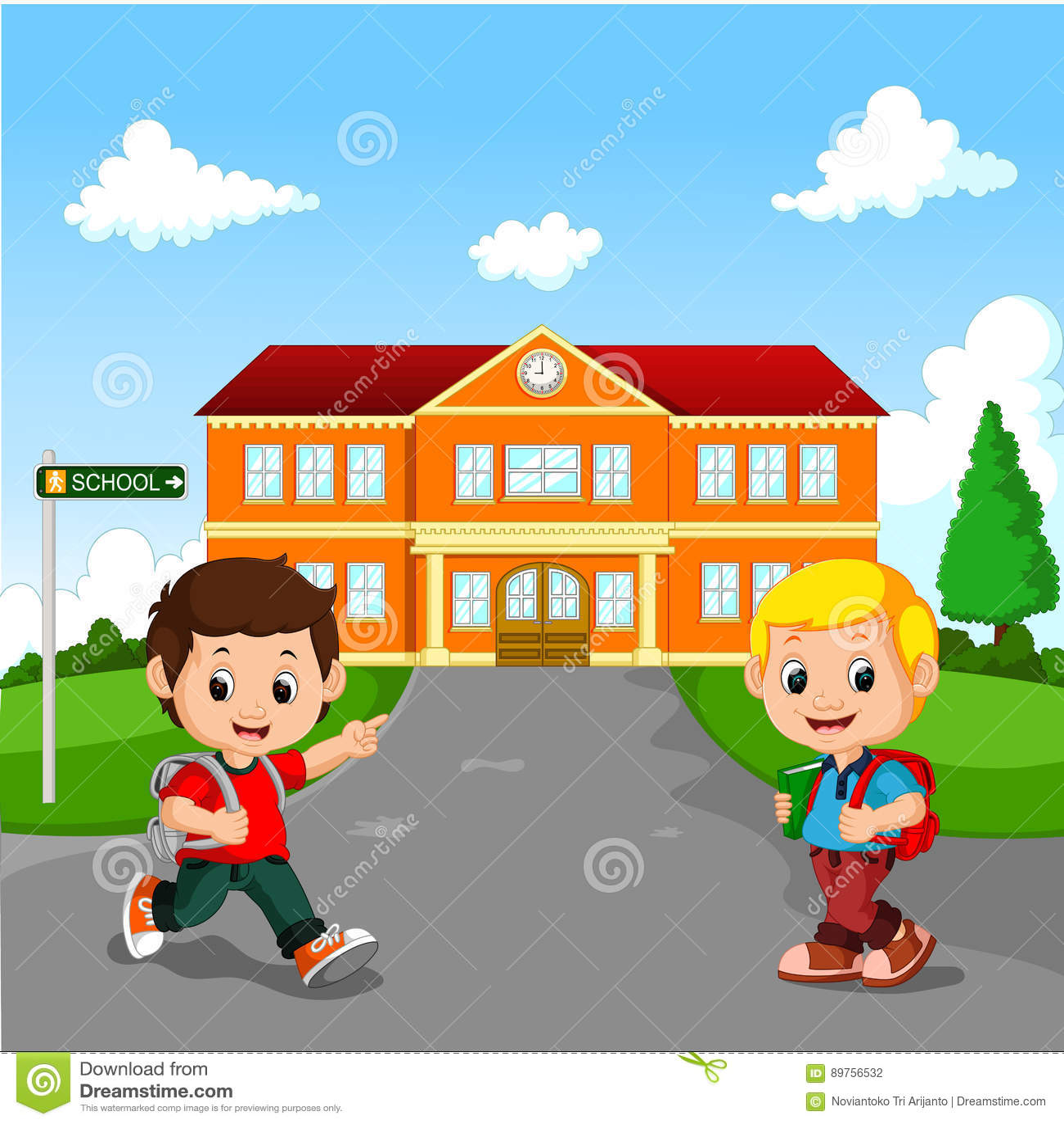 A Boy Going To School Cartoon Cartoon Vector ...