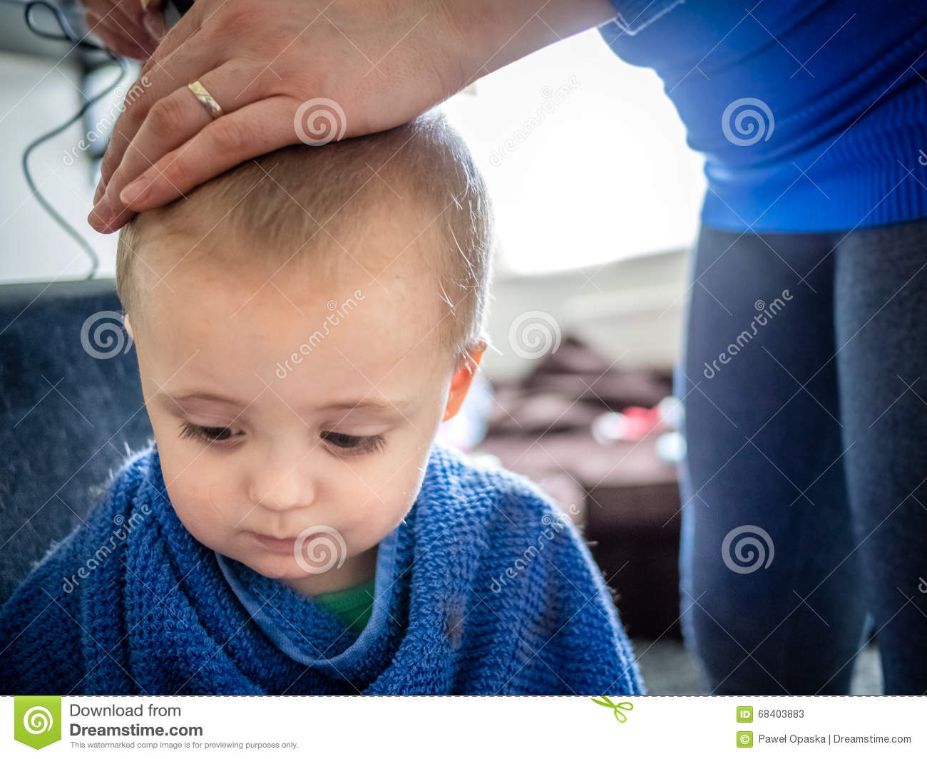 Little Boy Haircut Stock Image Image Of Family Attractive 68403883