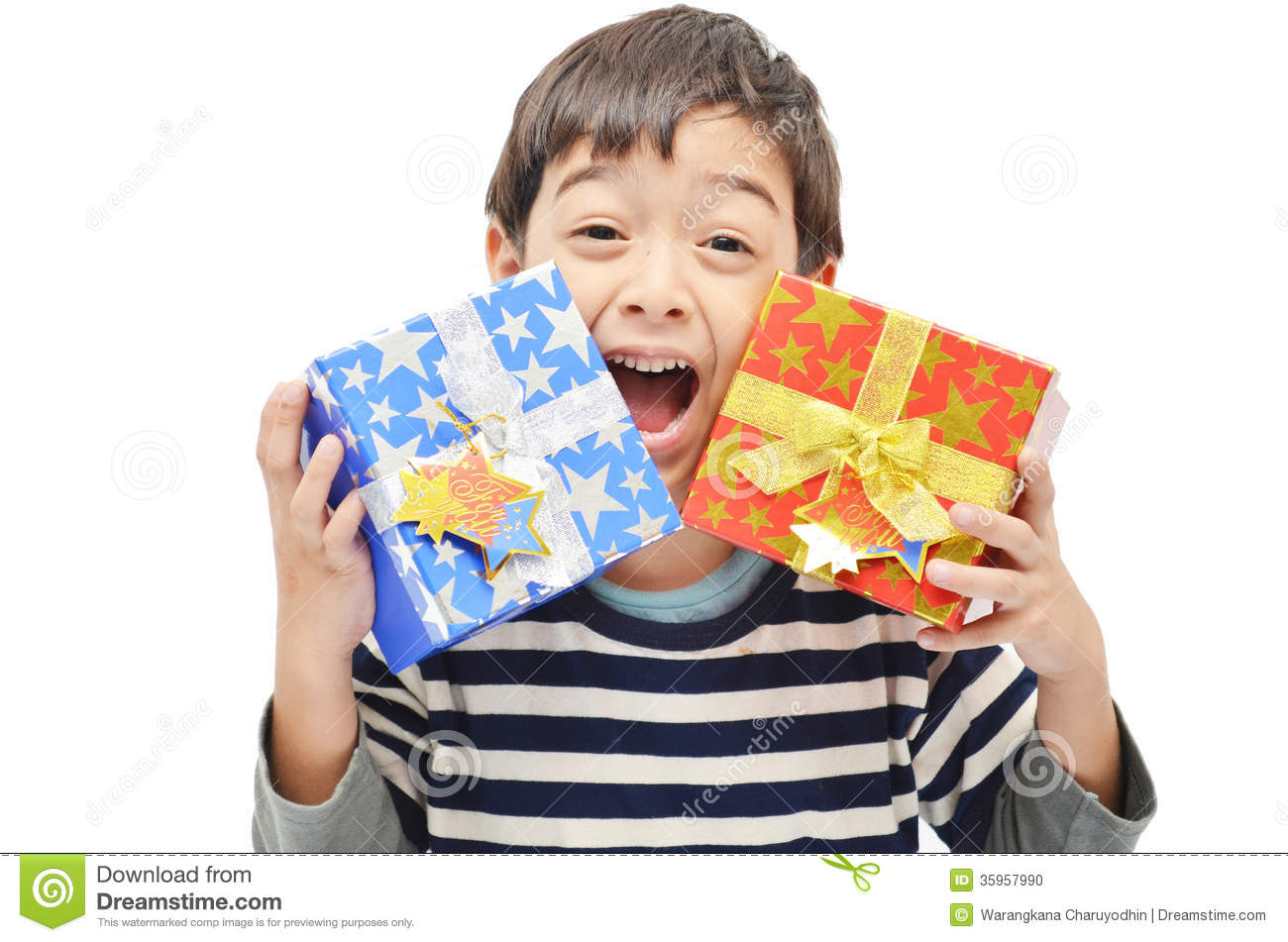 Little Boy Happy With Gift Box Stock Photo - Image of face ...
