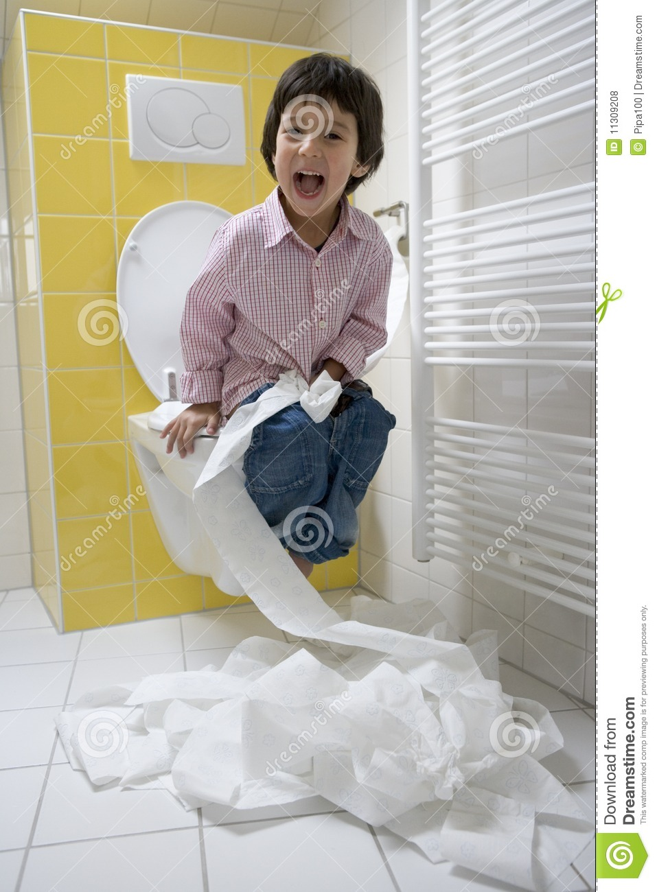 Little Boy Has A Lot Of Fun With Toilet Paper In Royalty