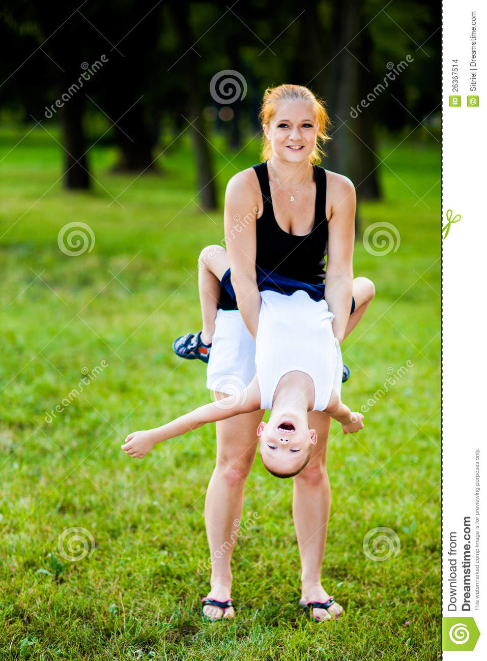 Little boy having fun with his mother