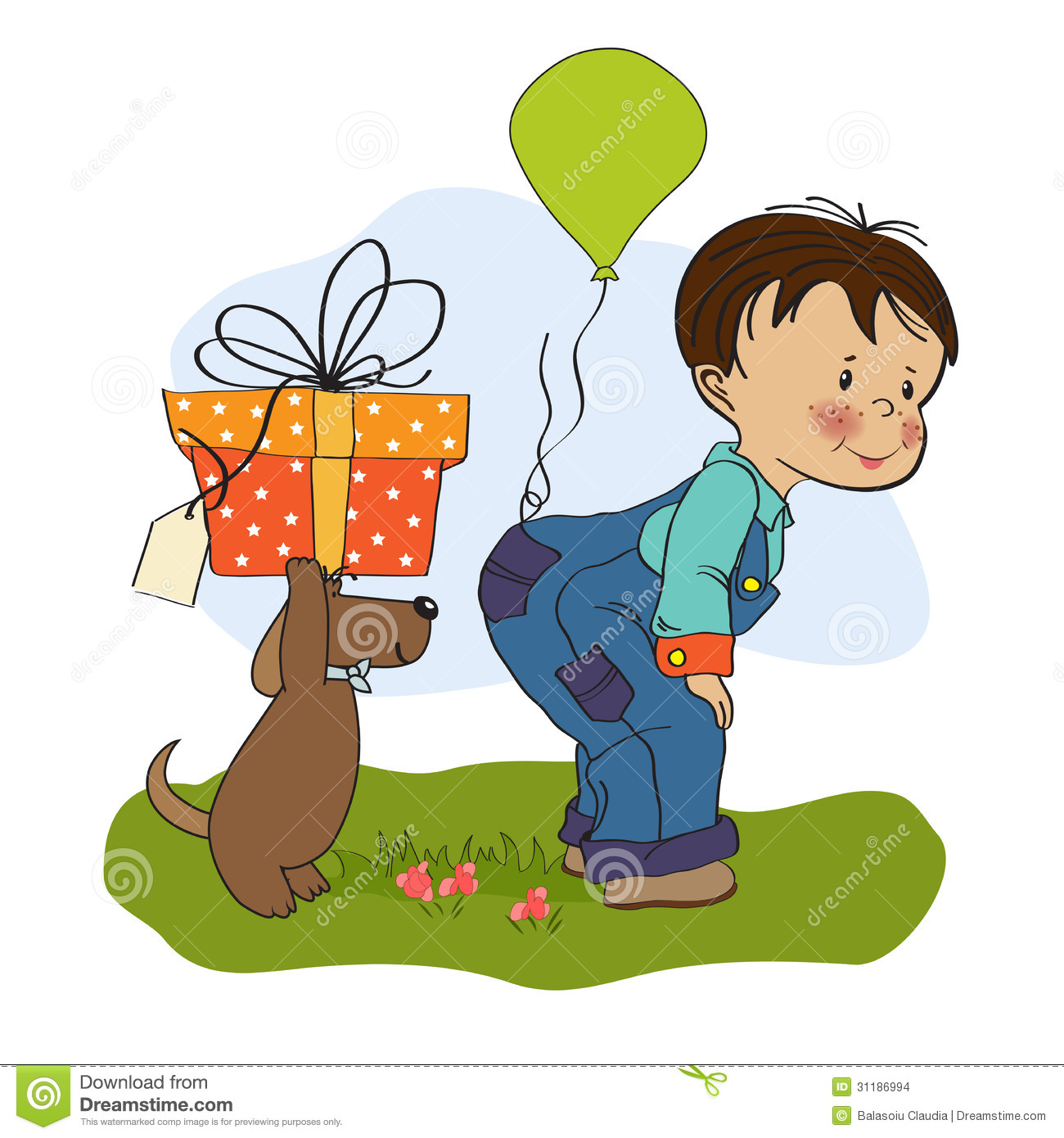 Happy Birthday Card With Little Boy And Friend Vector – Birthday Card for Boy