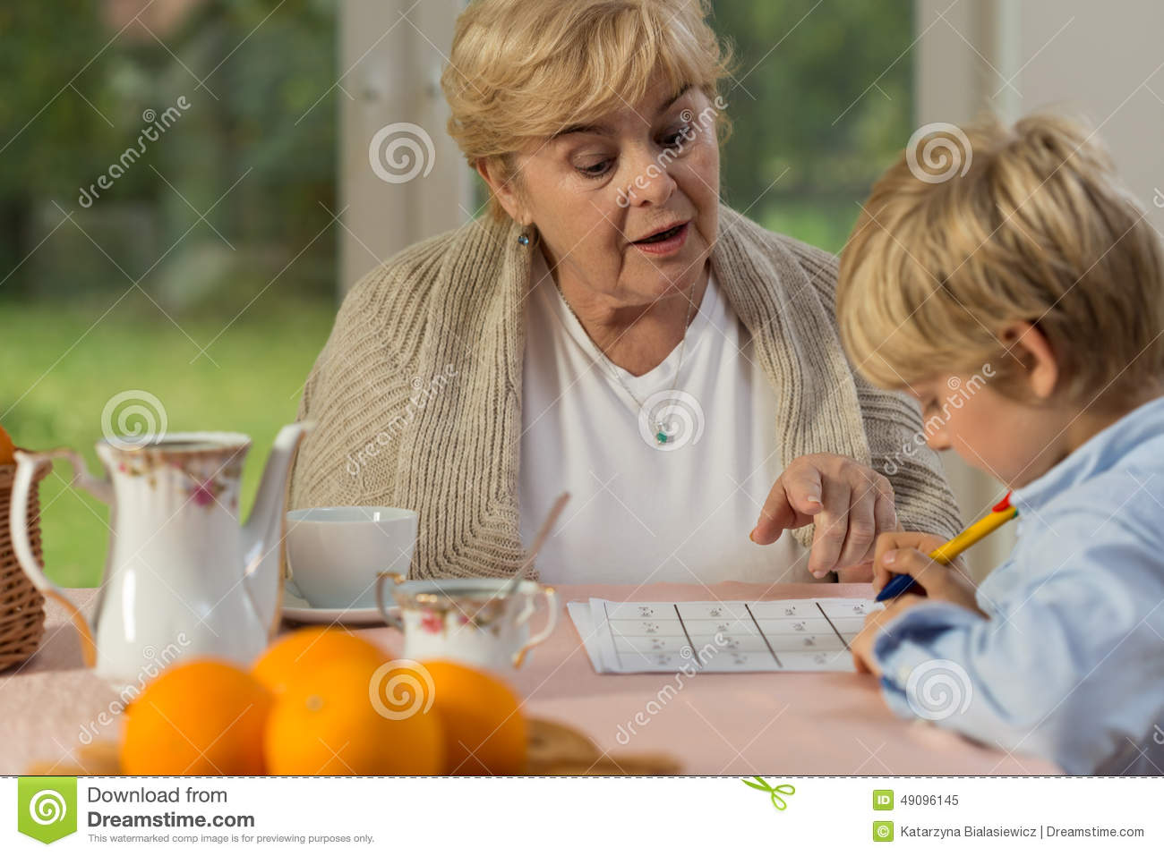 granny boy Little Boy And His Granny Stock Photo