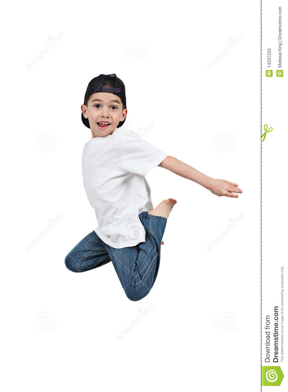 Little boy jumping on isolated royalty free stock photo image