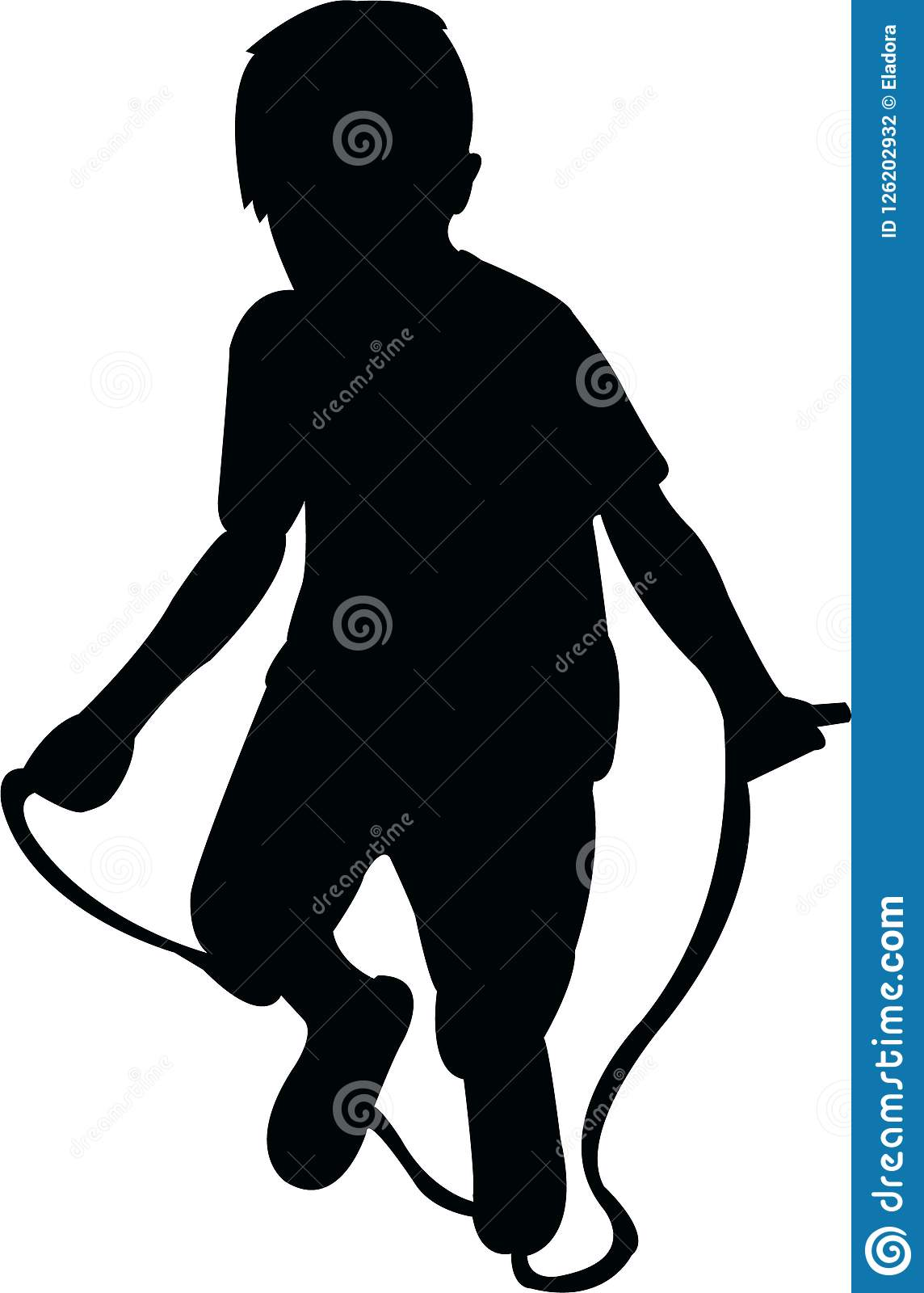 A Boy Jumping Rope, Silhouette Vector Stock Vector ...