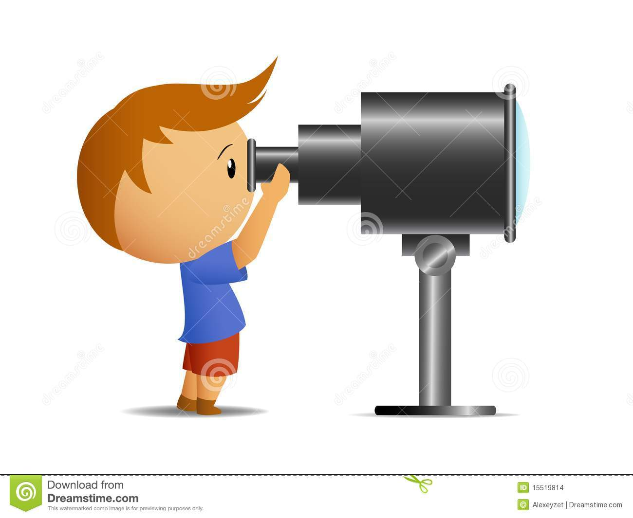 Little Boy Looking In Telescope Stock Images