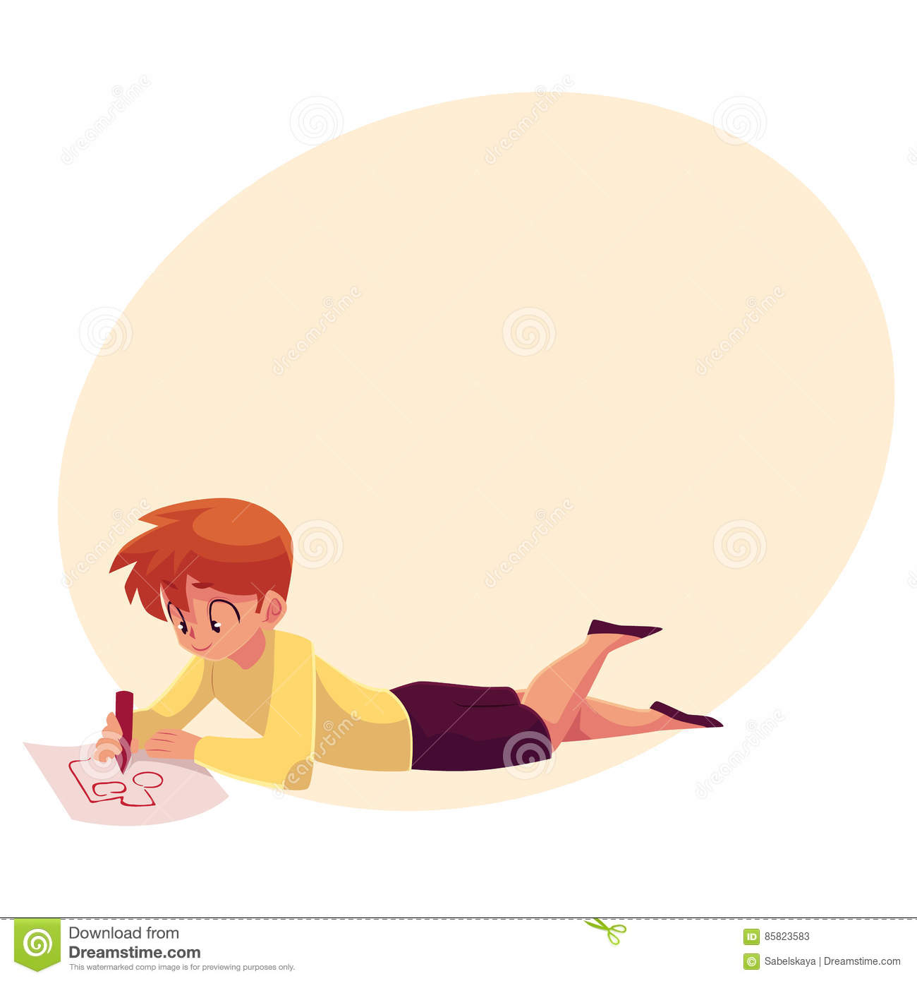 Little boy lying on the floor and drawing car truck with a pencil cartoon vector on background with place for text teenage boy drawing car with a red