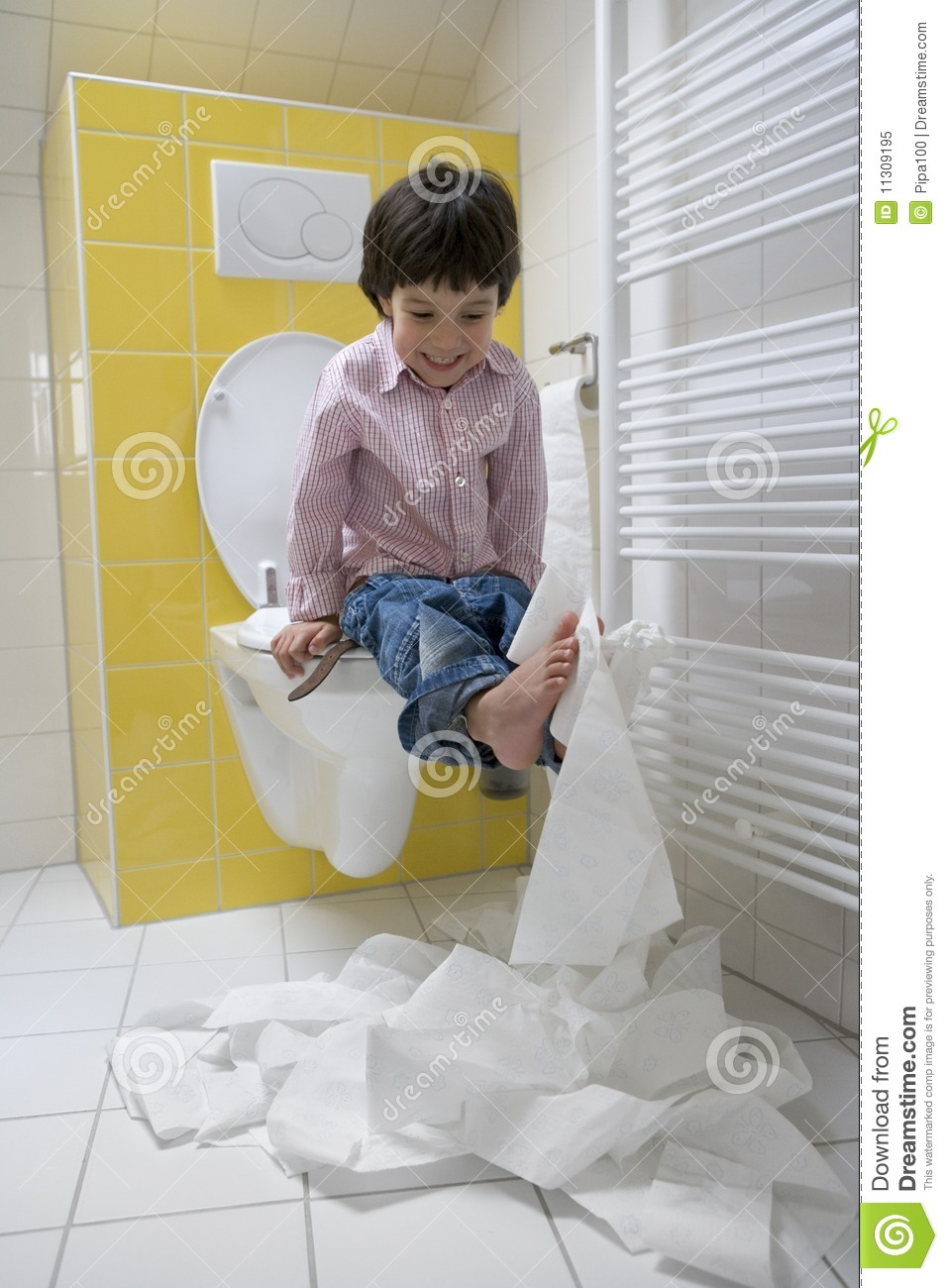 Little Boy Makes A Mess With Toilet Paper In The Royalty