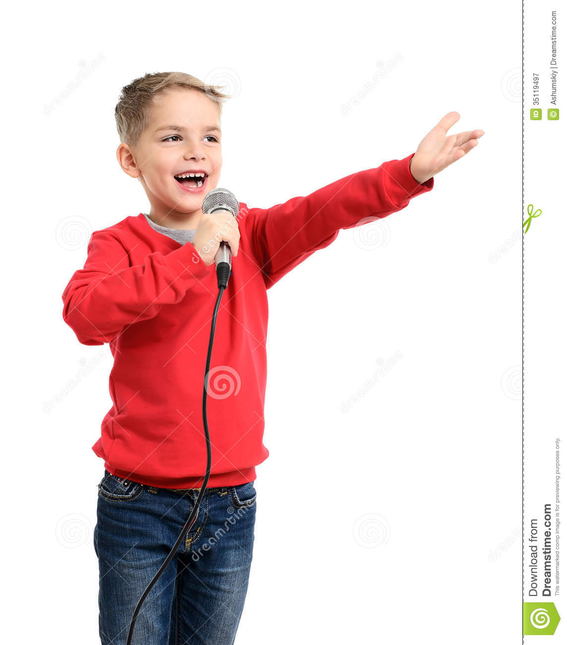 Little Boy With Microphone Sings A Song Royalty Free Stock