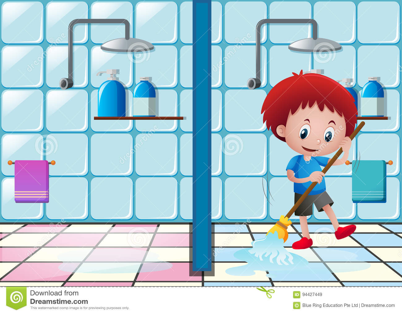 floor bathroom boy mopping illustration cleaning preview