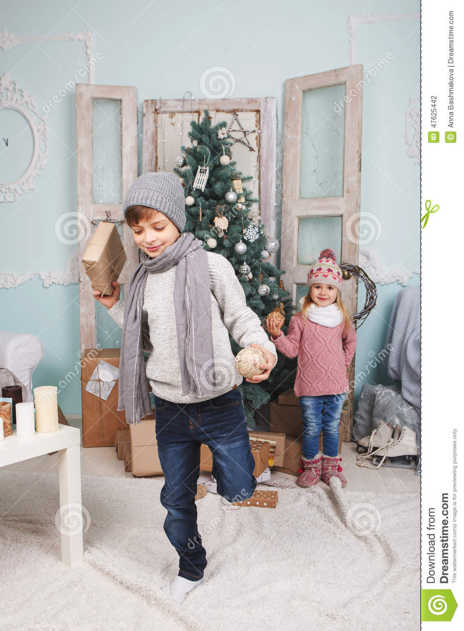 Little Boy On One Leg And New Year Stock Photo Image