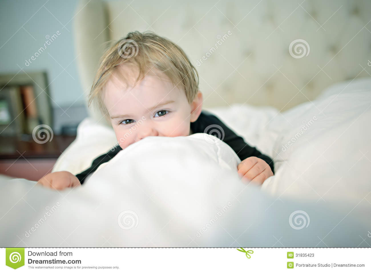 Little Boy Peeking Over Covers Stock Image Image Of Cute