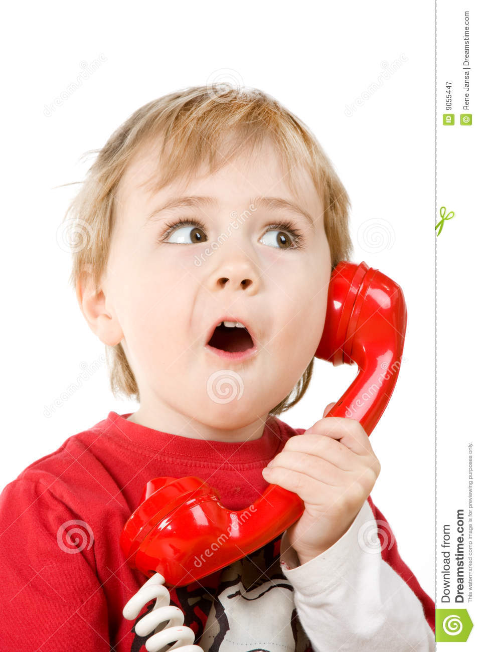 Little Boy On Phone Stock Image. Image Of Expression