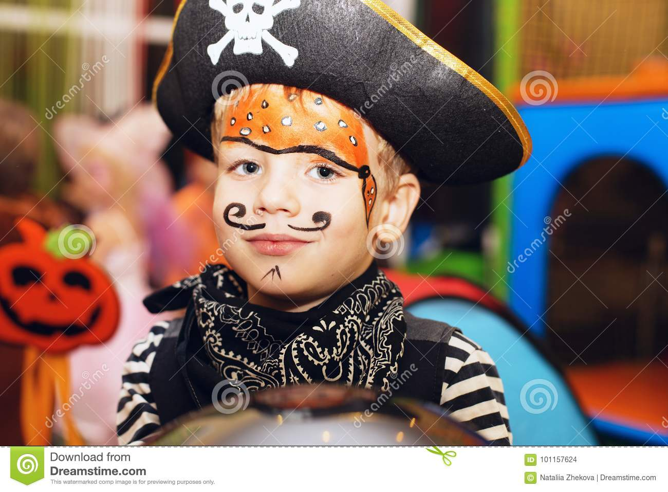 Halloween Makeup For Kids Boy.Little Boy In A Pirate Costume And A Makeup On His Face Is