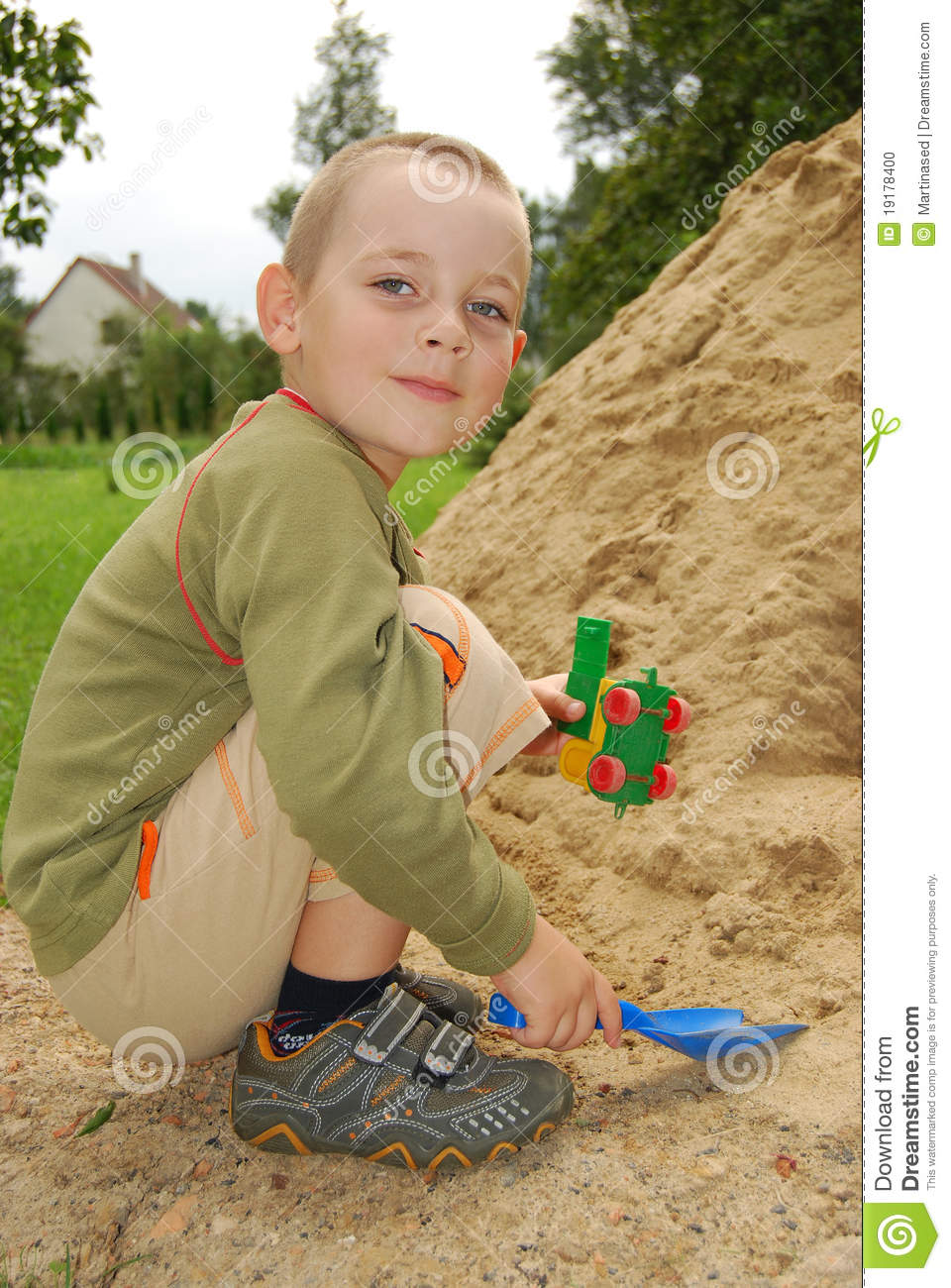 Play With Patterns Prints And Lots Of Accessories For: Little Boy Play With Sand Stock Photo. Image Of