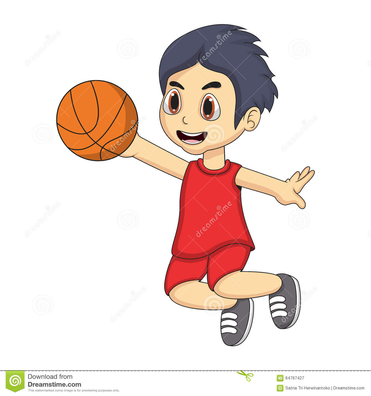 image Cute asian playing basketball