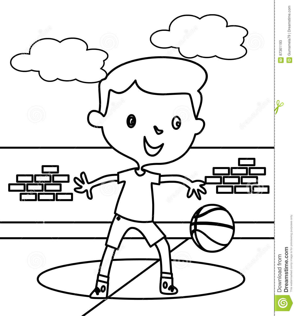 Little Boy Playing Basketball Coloring Page Stock Illustration ...