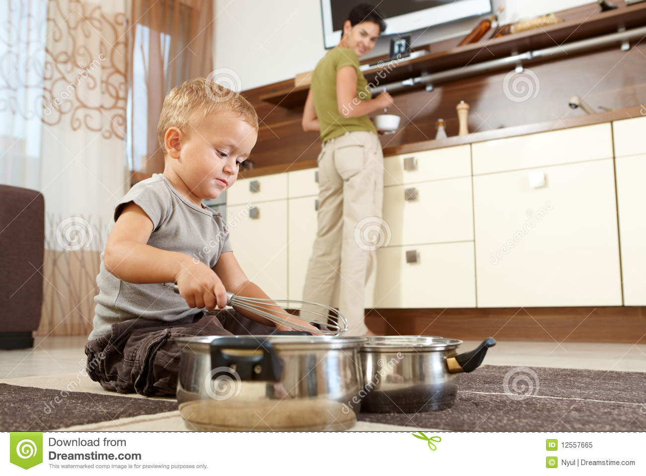 Little Boy Playing With Cooking Pots Stock Image Image