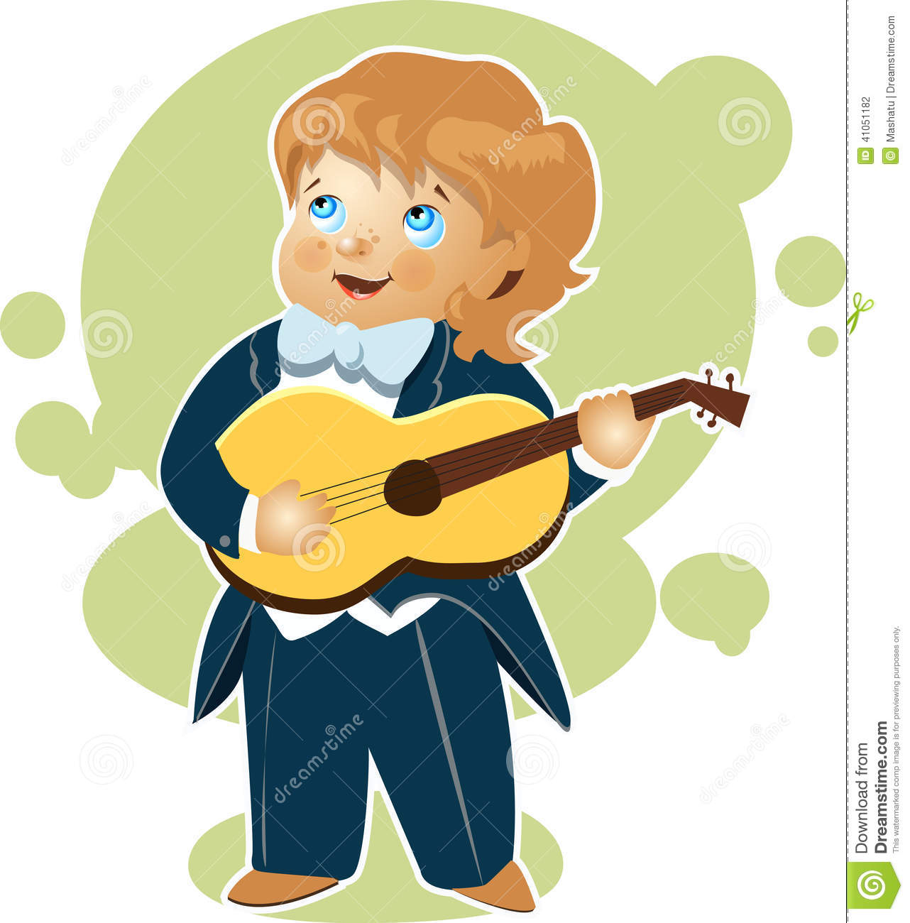 Little Boy Playing Guitar Cartoon Stock Vector - Image ...