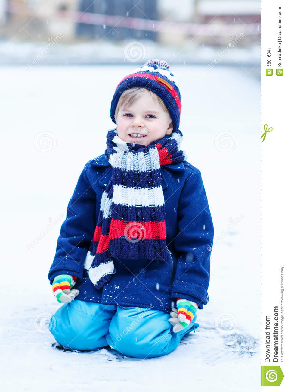 Little Boy Playing With Snow In Winter, Outdoors. Stock ...