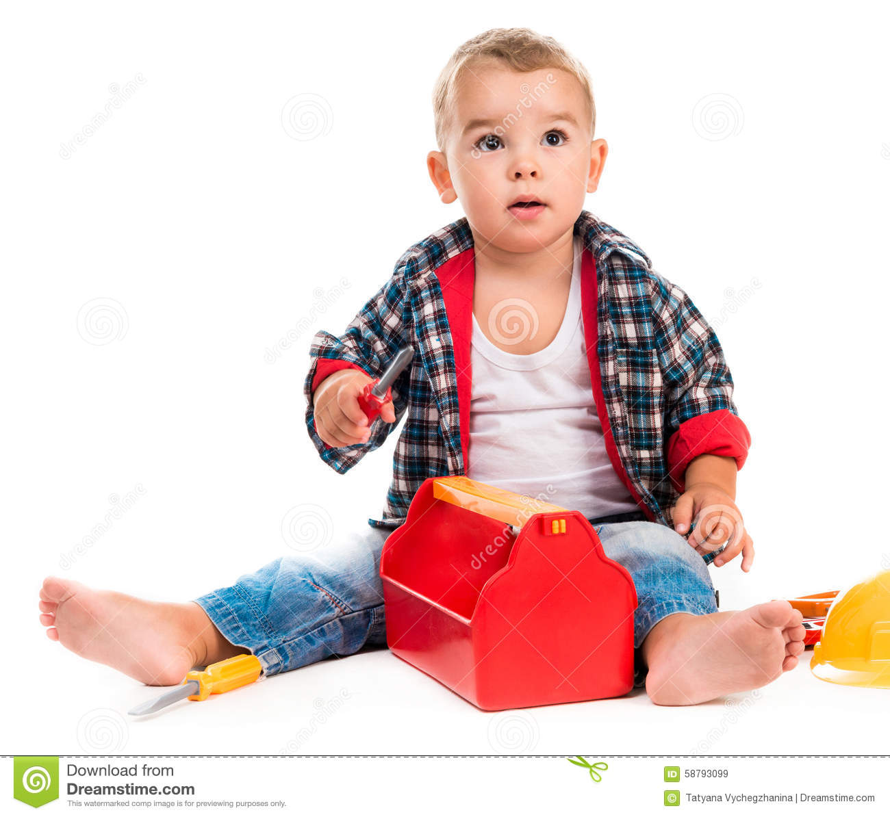 976128ceeeb Little Boy Playing Toy Tools Stock Image - Image of interest ...
