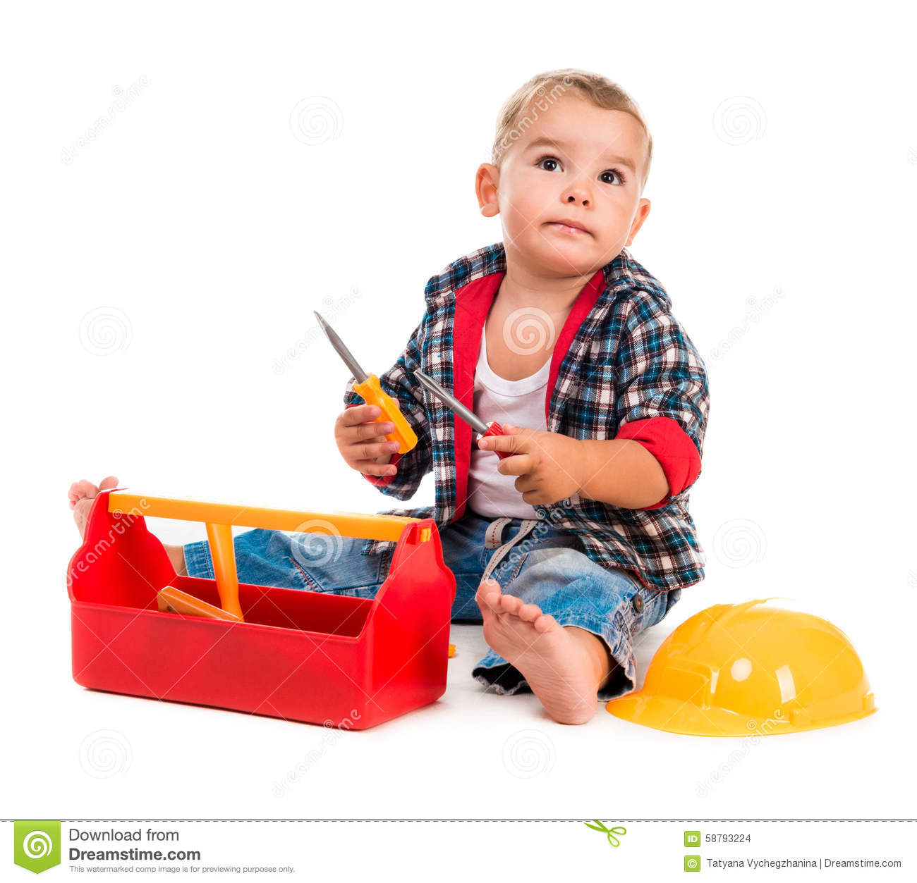 Boy Toys Background : Little boy playing toy tools stock photo image