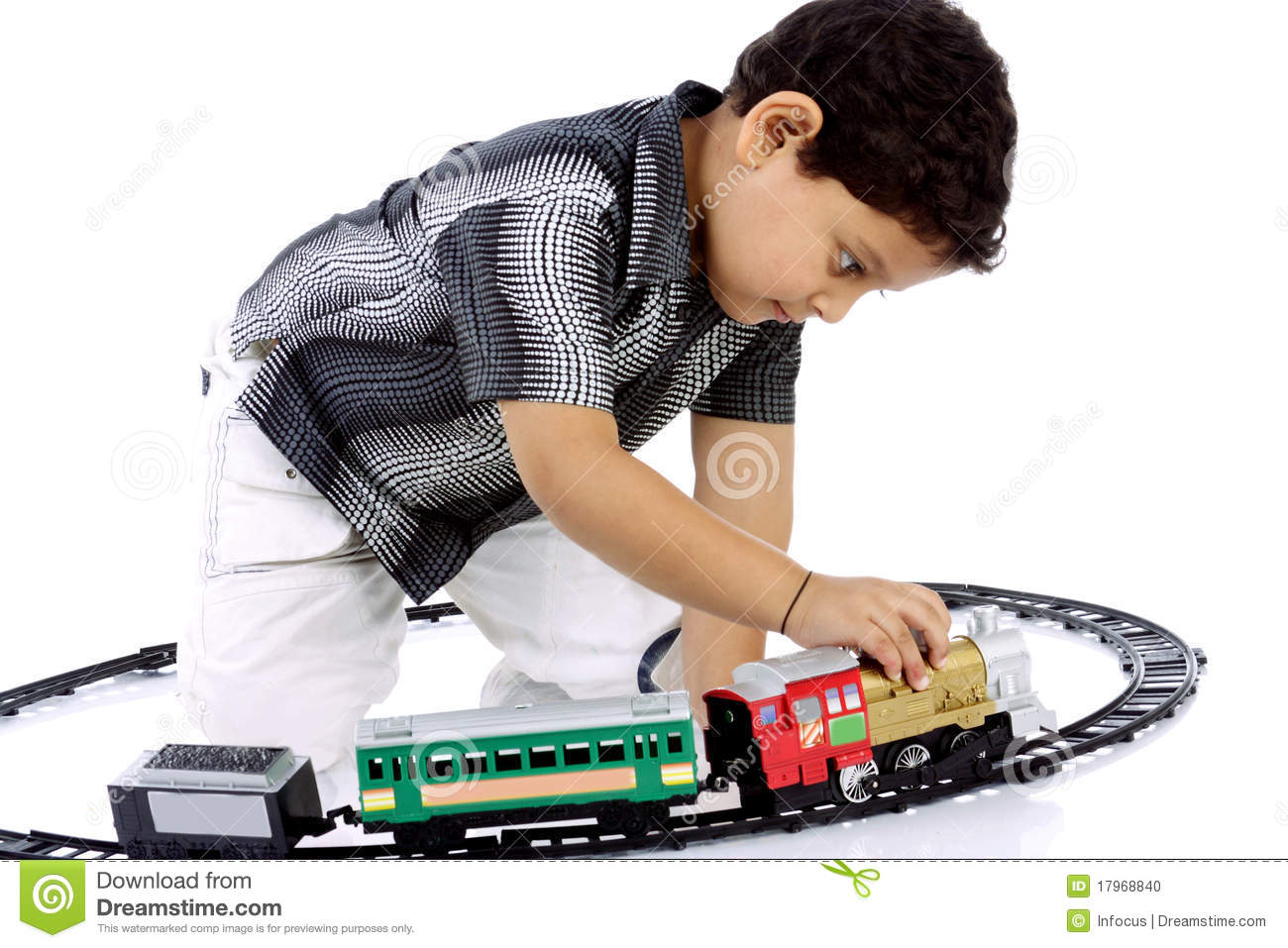 Little Boy Playing With Toy Train Stock Photo - Image: 17968840