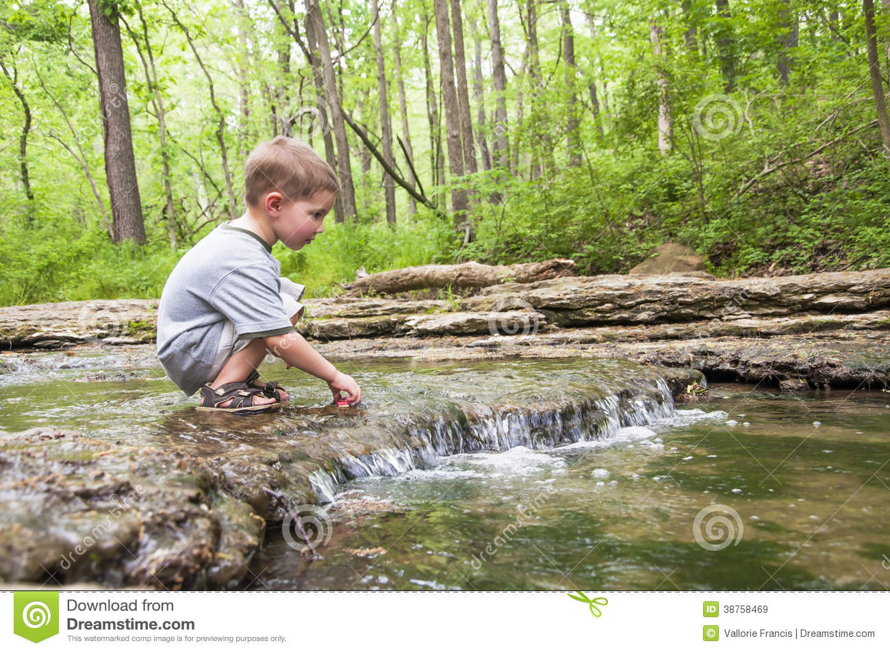 Boy Playing In Creek Royalty Free Stock Images Image