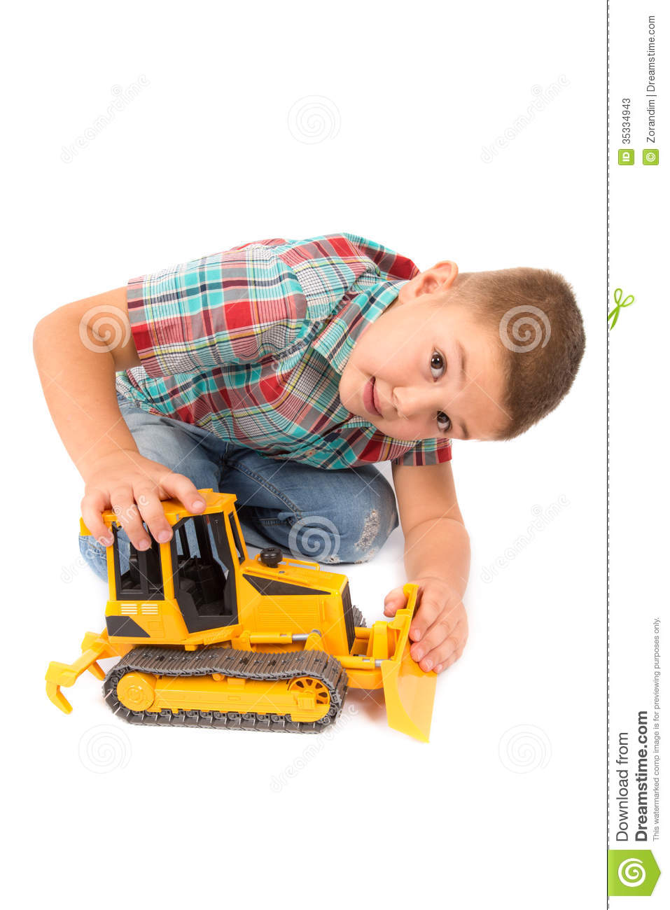 Boy Toys Background : Little boy plays with toy tractor stock photos image