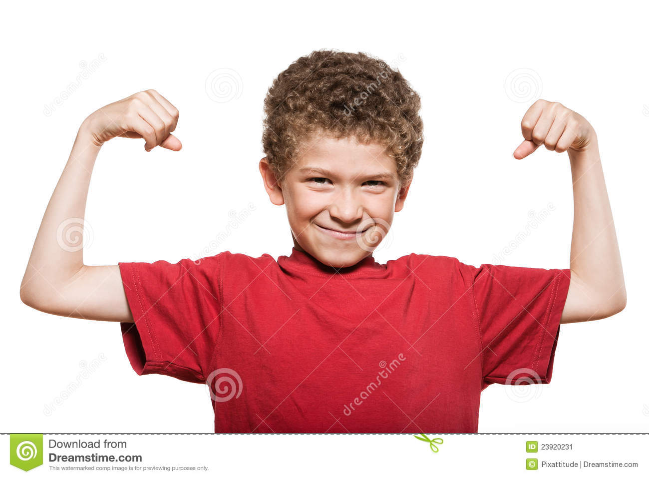 images of Little Boy Portrait Strong Flexing Muscle Biceps Stock Image