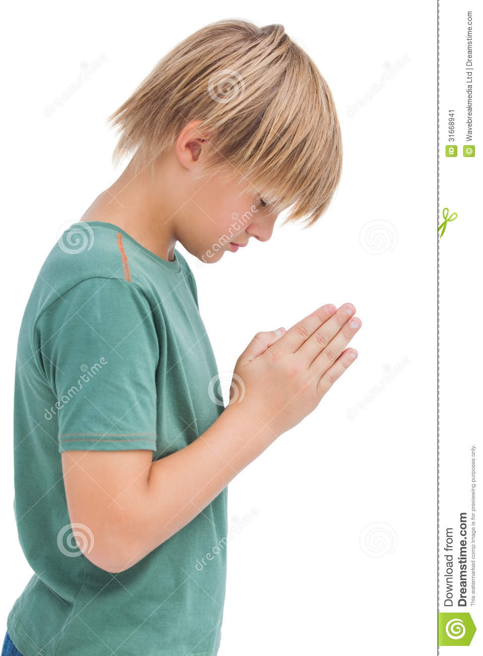 Little Boy Praying With Bowed Head Stock Image - Image: 31668941
