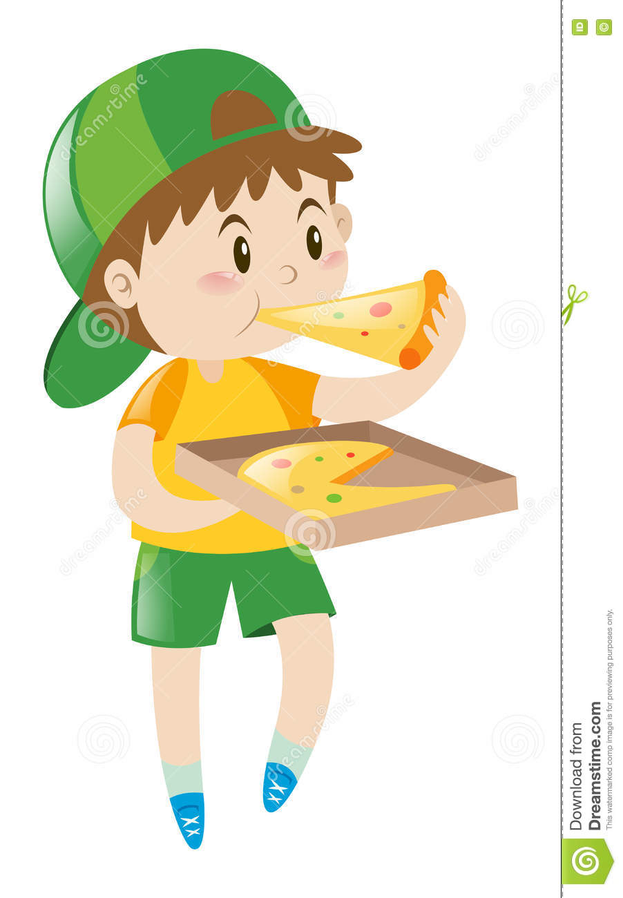 Little Boy que come a pizza
