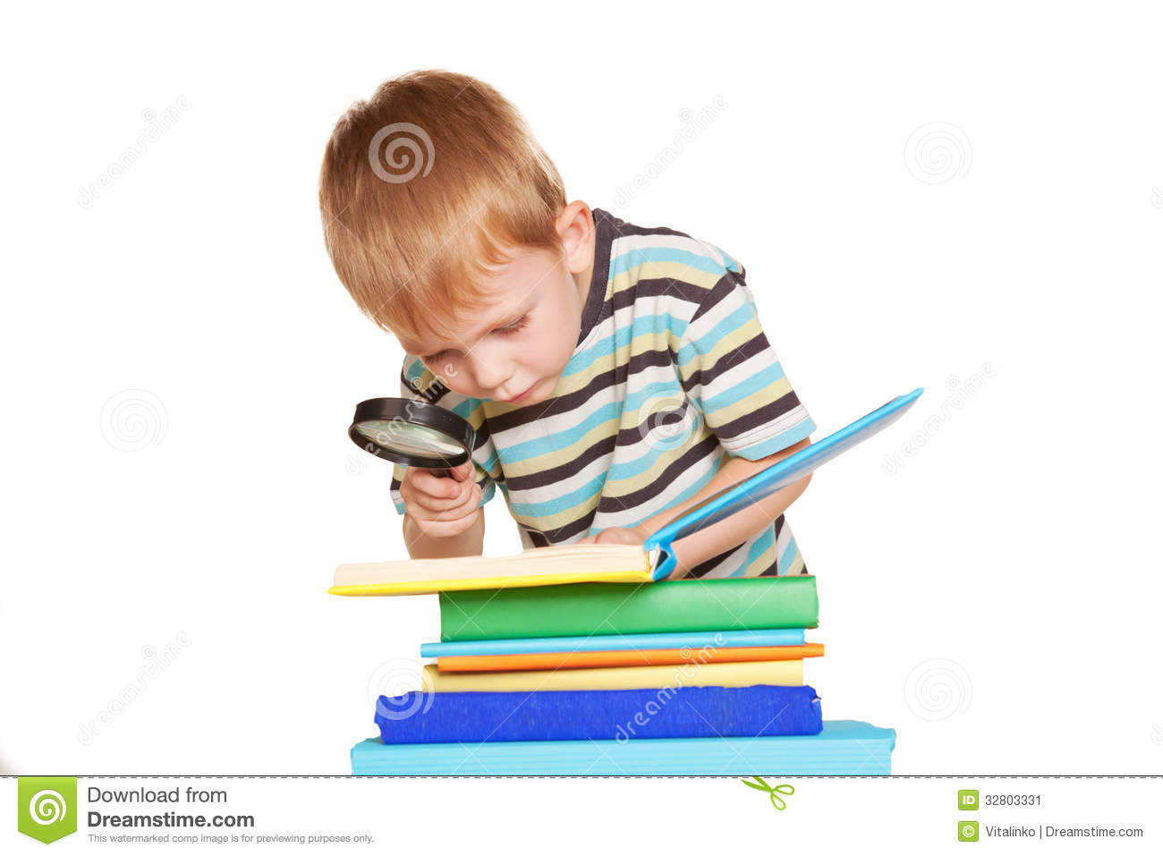 Little Boy Reading Book With Magnifying Glass Stock Image ...