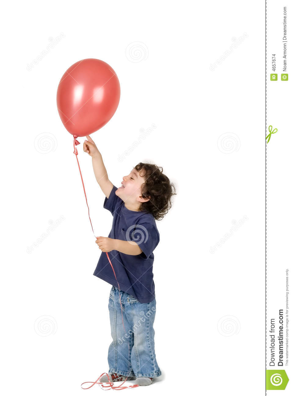 Boy pictures balloon of