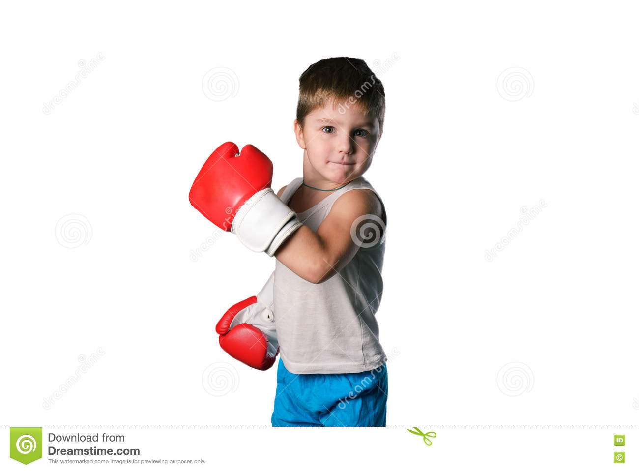 Little Boy With Red Boxing Gloves On White Background ...