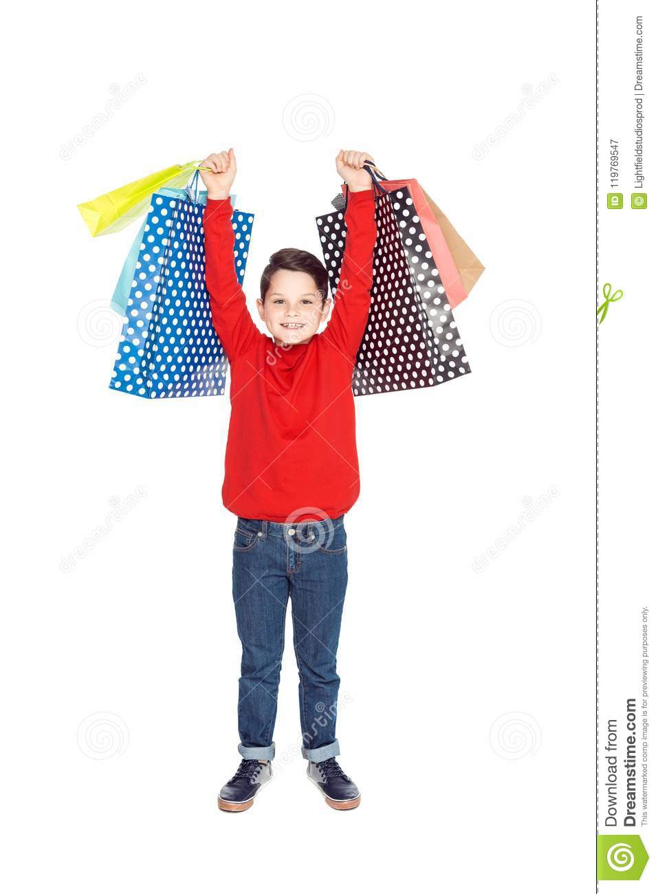 little boy in red sweater with shopping bags,