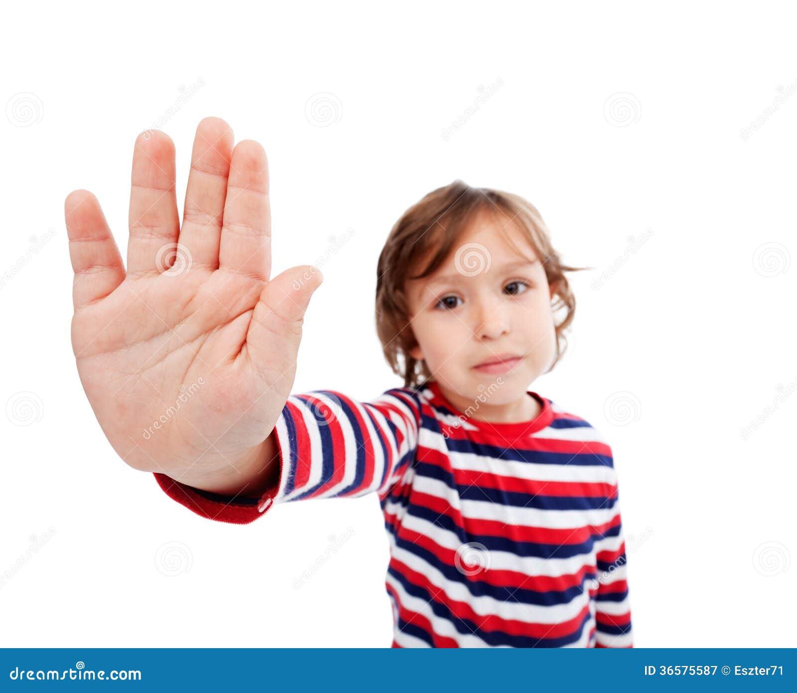 little boy refusing something stock image