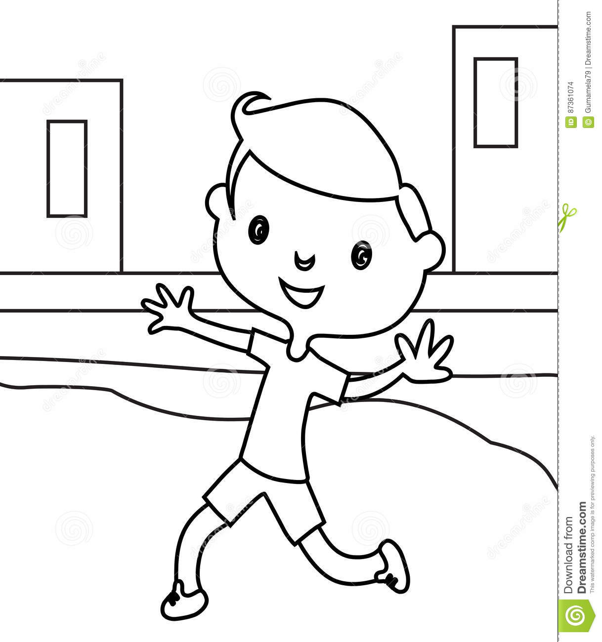 Download Little Boy Running Coloring Page Stock Illustration