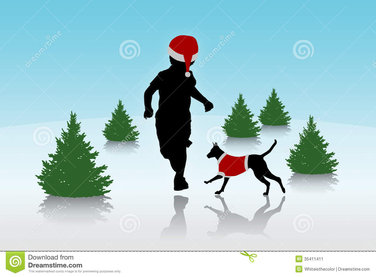 Christmas Running Top.Little Boy Running With A Dog On Christmas Background Stock