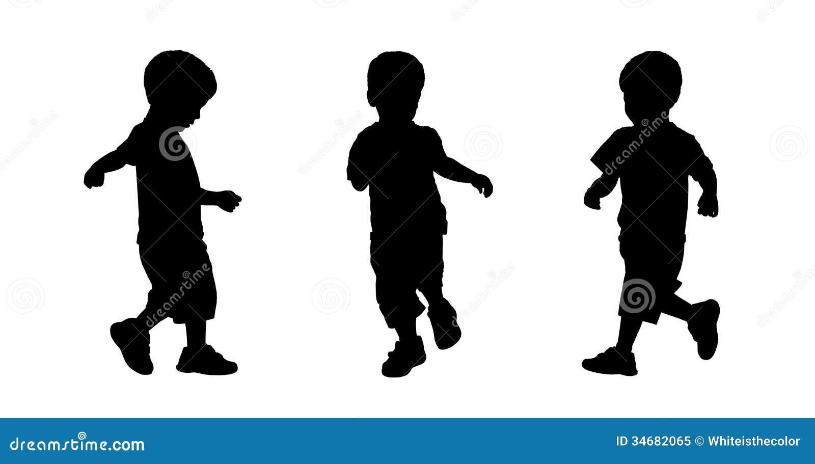 Little Boy Running Silhouettes Set 3 Stock Illustration ...