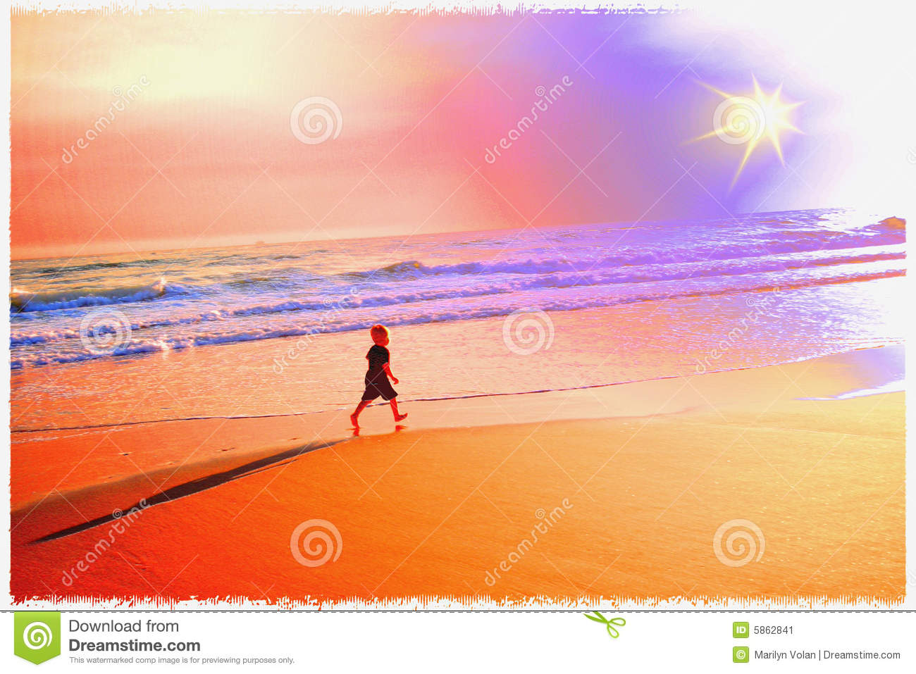 Pastel peaceful painting of little boy walking alone on the beach towards the setting sun