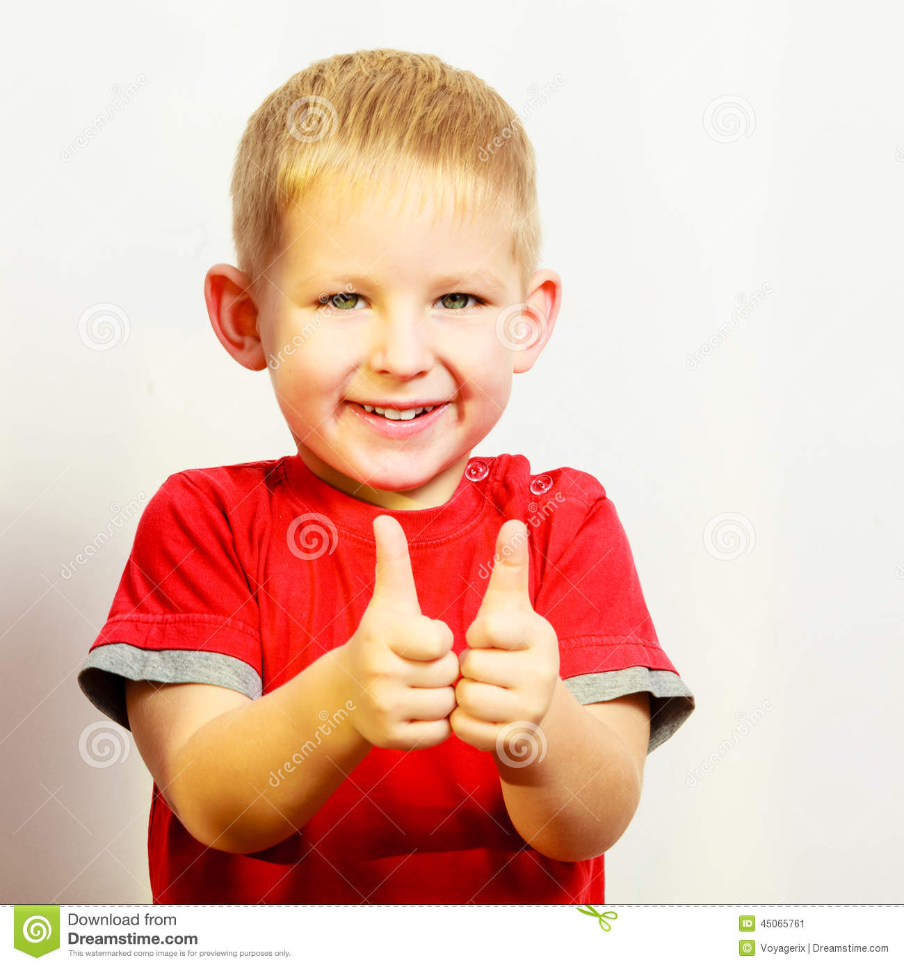Little Boy Showing Thumb Up Success Hand Sign Gesture