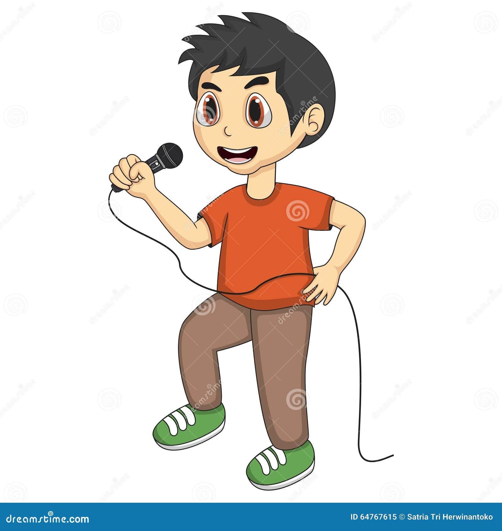 Little boy singing cartoon stock vector. Illustration of ...