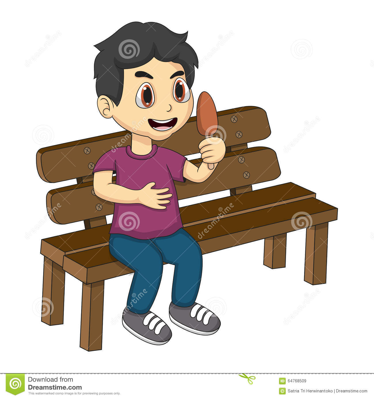 Little Boy Sitting On A Bench Eating Ice Cream Cartoon