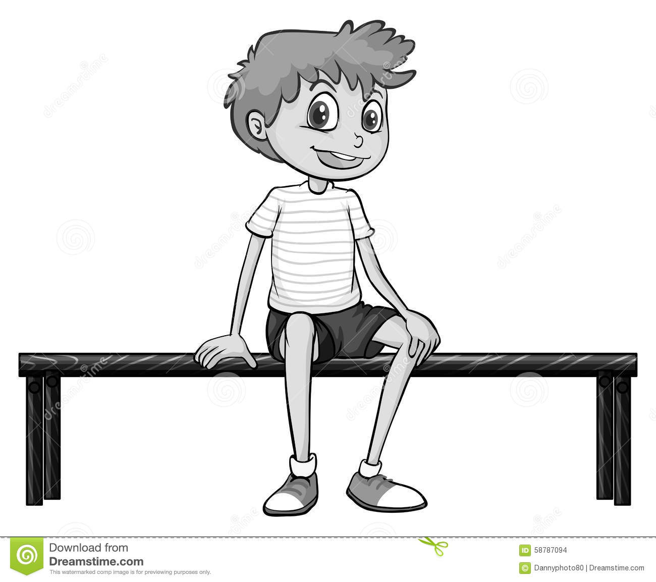 Little Boy Sitting On Bench Stock Vector - Image: 58787094