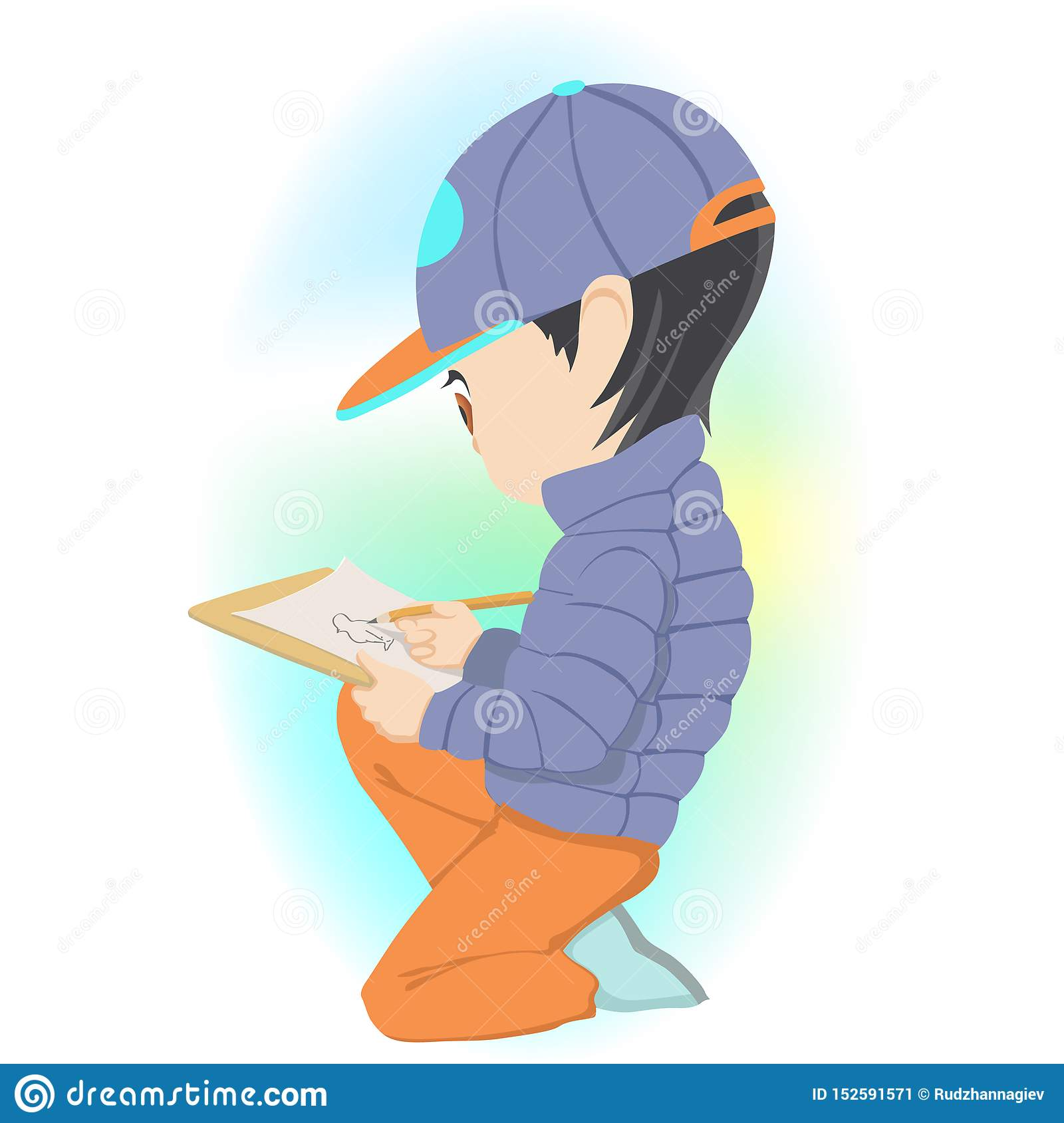 Little boy sitting and drawing picture on paper