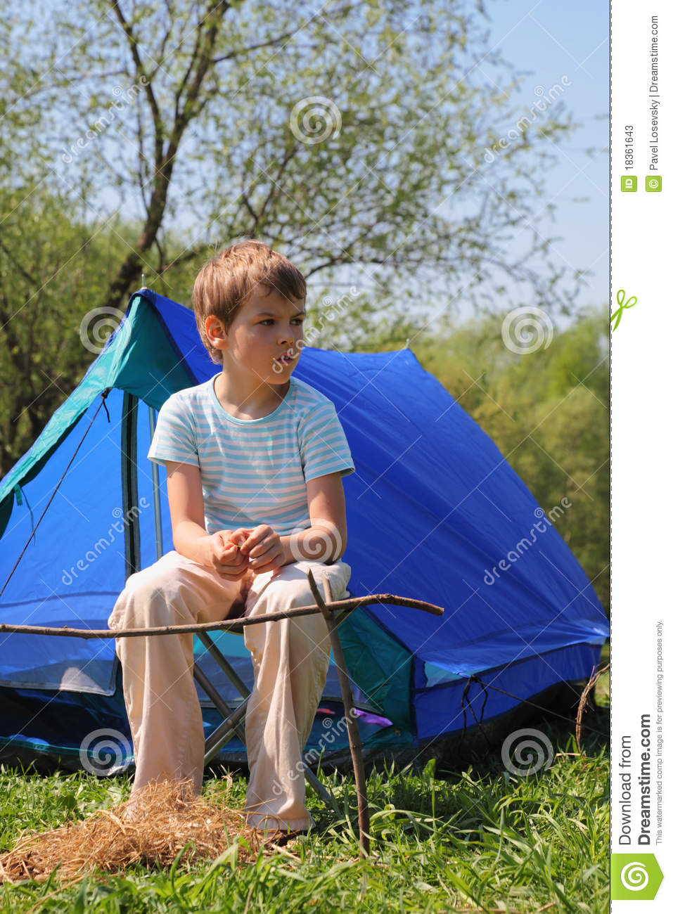 Little boy sitting near blue tent on nature  sc 1 st  Dreamstime.com & Little Boy Sitting Near Blue Tent On Nature Stock Image - Image of ...