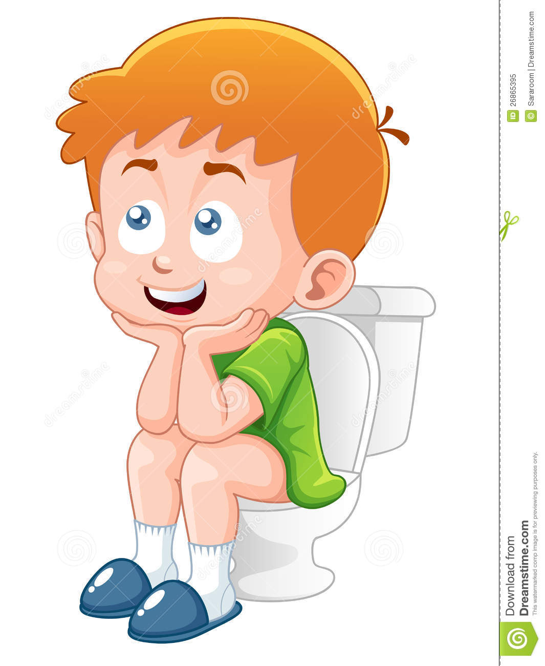 Little Boy Is Sitting On The Toilet Stock Vector