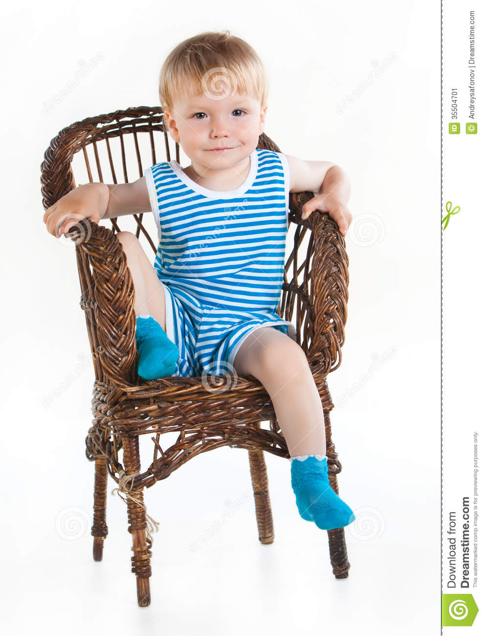 Little Boy Sitting In Wickerwork Chair Stock Image Image